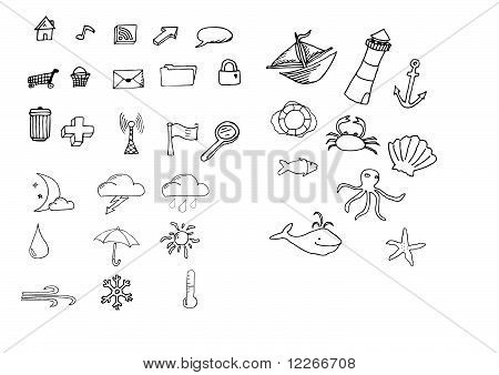 Set Hand Drawn Icons Vector