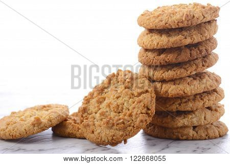 Traditional Anzac Biscuits On White Background