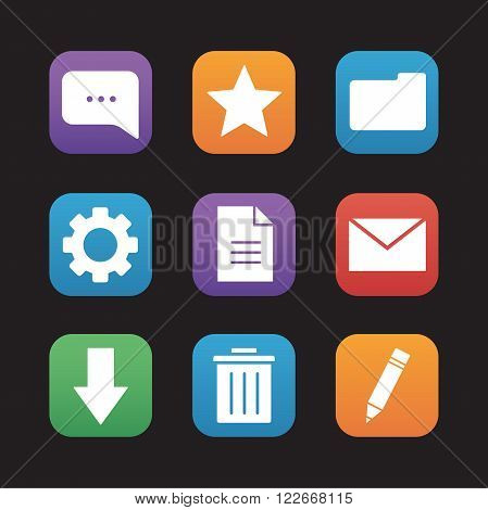 Digital flat design icons set. Mobile application user interface. Chat bubble, rating star, new document and folder symbols. File manager app buttons. Email letter and download arrow. Vector ui