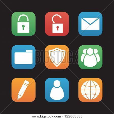File manager flat design icons set. Data storage web application interface. Server ui. Private and group folder access, security protection shield and globe symbol. Mobile app buttons. Vector