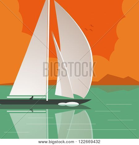 illustration of a man sailing a yacht on calm water
