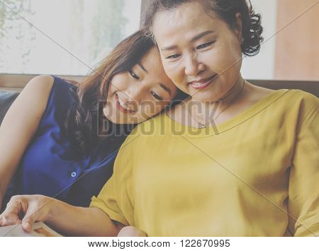 Mother Daughter Casual Adorable Life Concept