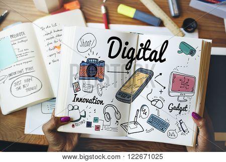 Digital Gadget Innovation Sharing Media Concept