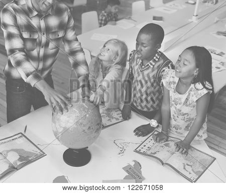 Students Geography Learning Classroom Concept
