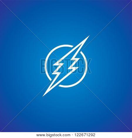 thunder bolt sign logotype theme vector art illustration