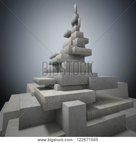 abstract background of geometric tower