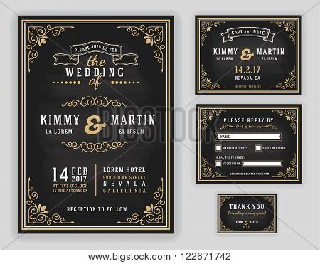 Luxurious wedding invitation on chalkboard background. Include Invitation RSVP card Save the date Thank you card. Vector illustration