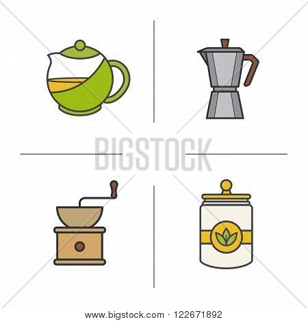 Tea and coffee color icons set. Tea infuser kettle, tea jar, moka pot, classic coffee maker and coffee beans grinder. Tea and coffee brewing equipment. Logo concepts. Vector isolated illustrations