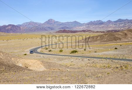 Panoramic view of Badwater road in Death Valley National Park.