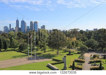 Melbourne Cityscape and Botanic Gardens in Australia