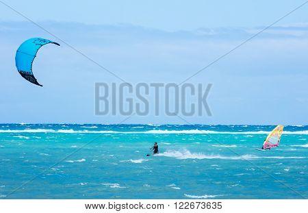 Boracay island, Philippines - January 26: windsurfers and kiteboarders enjoying wind power on Bulabog beach on January 26, 2016, Boracay island, Philippines.