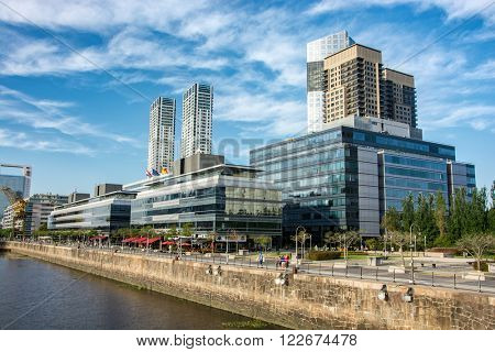 BUENOS AIRES - January 24, 2016: Skyline in the neighborhood of Puerto Madero,Argentina on January 24, 2016. This is a popular tourist destination with over 2.5 million yearly visitors