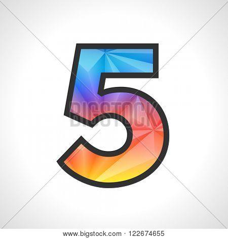 Vector Geometric Gradient Design Triangular Polygonal Font. Children style Number 5