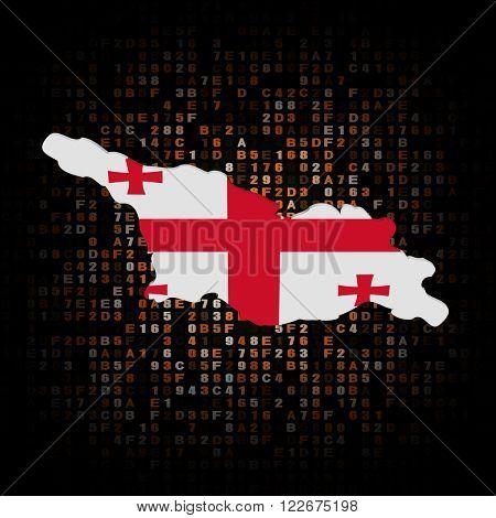Georgia map flag on hex code illustration