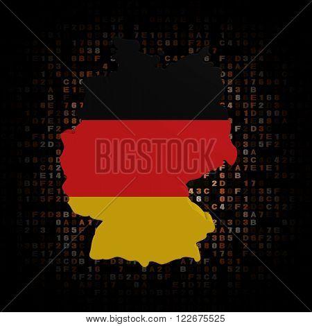German map flag on hex code illustration