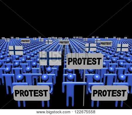 Crowd of people with protest signs and Finnish flags illustration