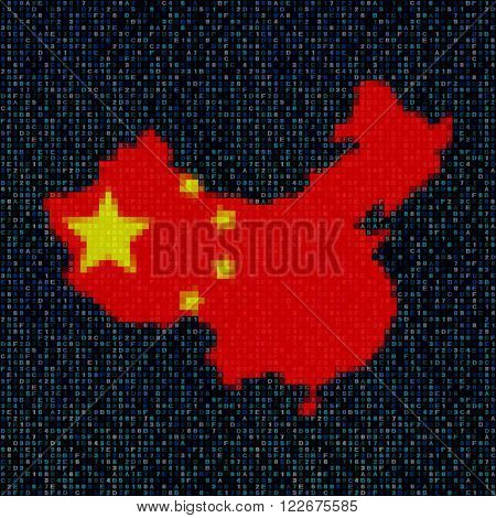 China map flag on hex code illustration
