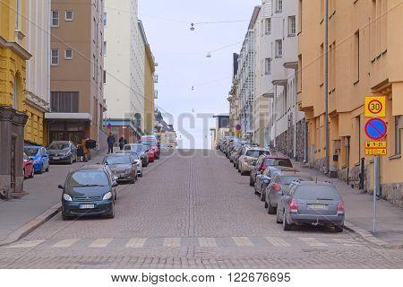 Helsinki, Finland - March, 14, 2016: the parking cars in Helsinki, Finland
