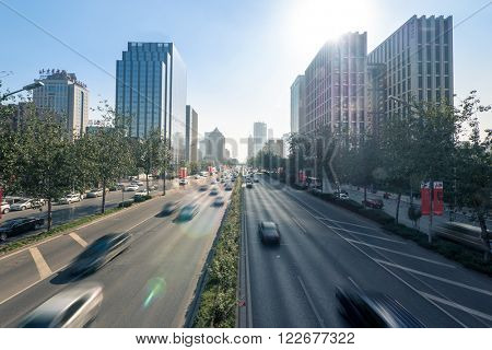 traffic on road and buildings in beijing