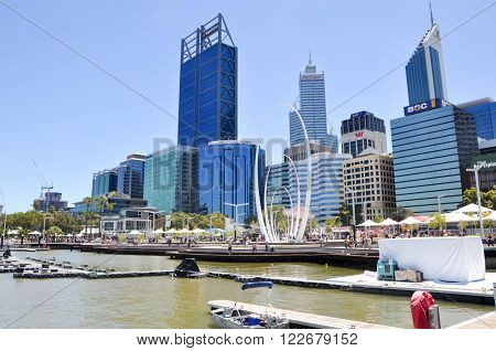 PERTH,WA,AUSTRALIA-FEBRUARY 13,2016: Elizabeth Quay development with the artificial inlet on the Swan River with tourists and urban architecture in Perth, Western Australia.