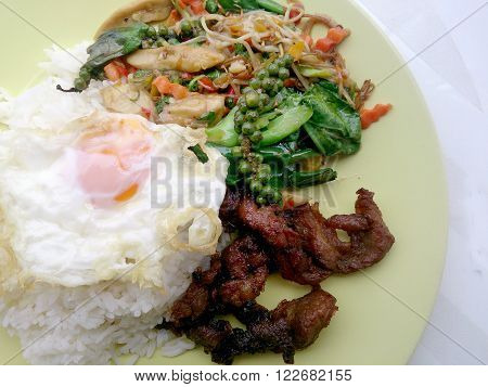Fried herbal vegetables & Fried Pork & Fired Egg with Rice