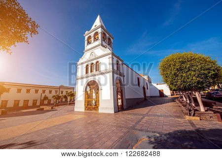 Nuestra Senora Del Rosario church in the capital of Fuerteventura island in Spain