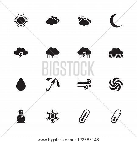 black simple flat weather forecast icon set for web design user interface (UI) infographic and mobile application (apps)