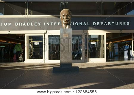 LOS ANGELES, UNITED STATES - DECEMBER 28: The entrance of the Tom Bradley departure terminal for international flights at the airport LAX on December 28, 2015 in Los Angeles.