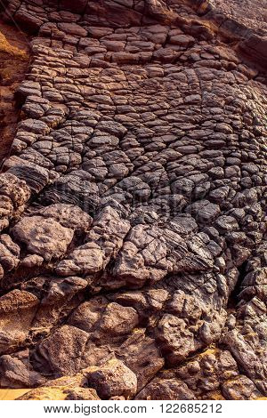 Close-up view on the volcanic rocky coast near La Pared village on the south western part of Fuerteventura island