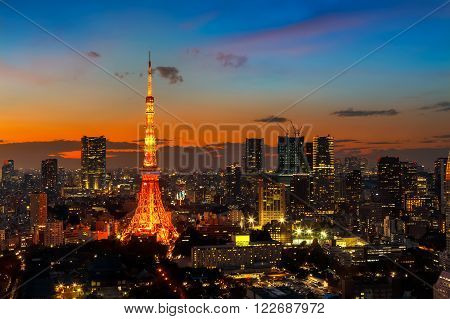 Tokyo Tower with Tokyo Cityscape in Twilight