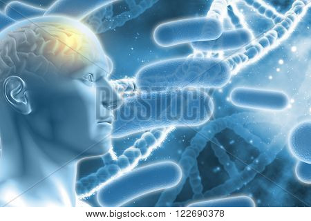 3D DNA medical background with male figure with brain and virus cells
