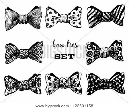 Bow ties set. Black and white hand-drawn illustration