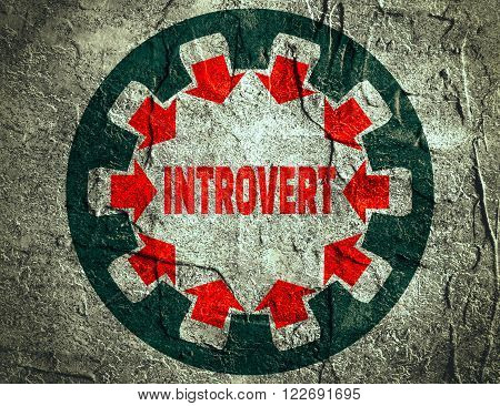 Introvert simple icon metaphor. image relative to human psychology. Concrete textured