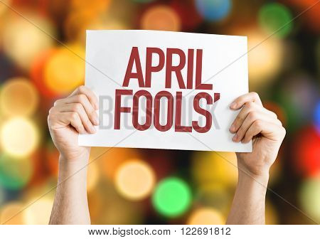 April Fools' placard with bokeh background