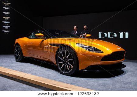 GENEVA, SWITZERLAND - MARCH 1: Geneva Motor Show on March 1, 2016 in Geneva, Aston Martin DB11, front-side view