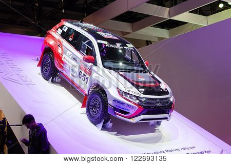 GENEVA, SWITZERLAND - MARCH 1: Geneva Motor Show on March 1, 2016 in Geneva, Mitsubishi Outlander MIEV Racing, front-side view