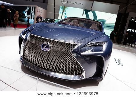 GENEVA, SWITZERLAND - MARCH 1: Geneva Motor Show on March 1, 2016 in Geneva, Lexus LF-FC Concept, front-side view