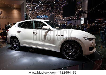 GENEVA, SWITZERLAND - MARCH 1: Geneva Motor Show on March 1, 2016 in Geneva, Maserati Levante, side view