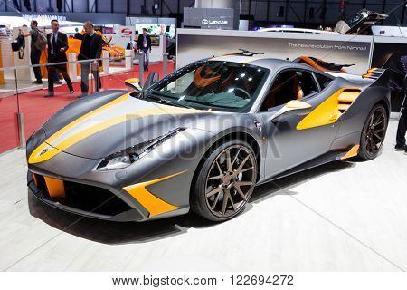 GENEVA, SWITZERLAND - MARCH 1: Geneva Motor Show on March 1, 2016 in Geneva, Nimrod LeMans Ferrari 488 GTB, side-front view