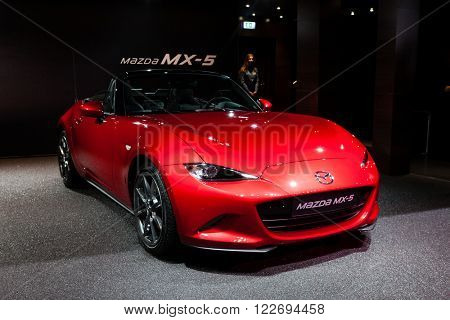 GENEVA, SWITZERLAND - MARCH 1: Geneva Motor Show on March 1, 2016 in Geneva, Mazda MX-5, front-side view