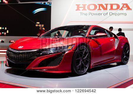 GENEVA, SWITZERLAND - MARCH 1: Geneva Motor Show on March 1, 2016 in Geneva, Honda NSX, front-side view