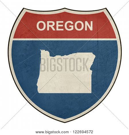 Grunge Oregon American interstate highway road shield isolated on a white background.