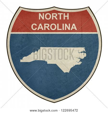 North Carolina interstate highway road shield isolated on a white background.