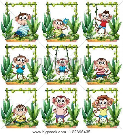 Monkeys in the wooden frame illustration