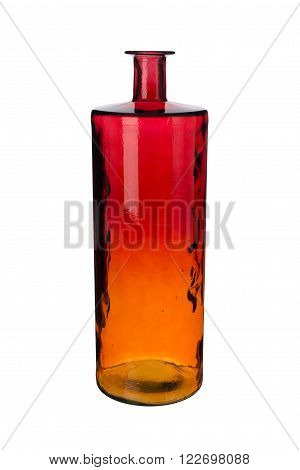 Empty Red Amber Gradient Cylindrical Crystal Vase