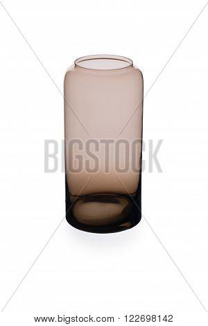 Short Brownish Cylindrical Crystal Vase