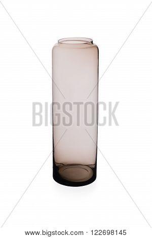 Medium-sized Brownish Cylindrical Crystal Vase