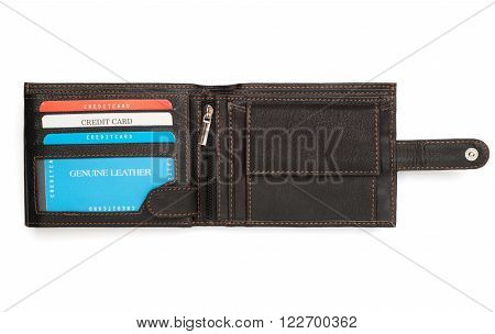 Opened Black Leather Wallet