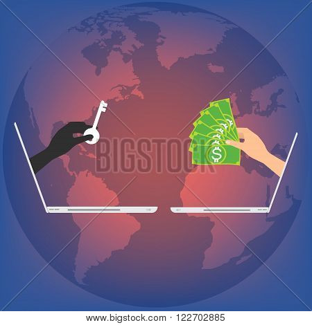 Hand from laptop display with key locked data and hand got banknote for paying to unlock data on globe background. Vector illustration business technology data privacy and security concept.