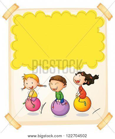 Paper design with three kids on big balls illustration